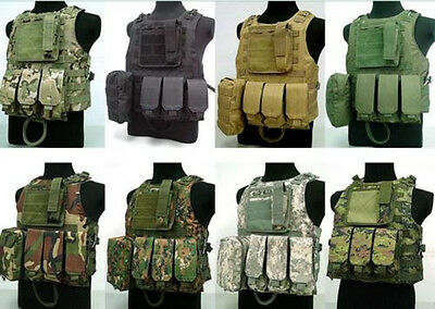 Tactical Military Molle Vest Paintball Combat Vest w/Pistol Gun Holster Tops New