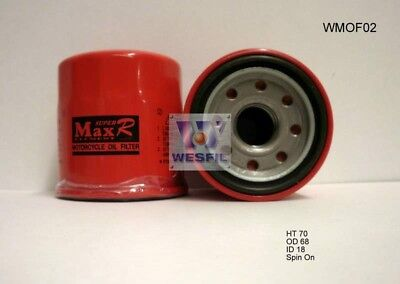 WESFIL OIL FILTER FOR Motorcycle Oil Filters YAMAHA YZF-R1 1998-2006 WMOF02 ()