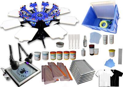 Diy 8 Color Silk Screen Printing Kit Full Set Press Machine 1 Year Warranty