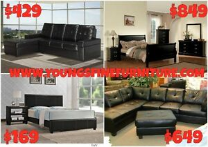 FAUX LEATHER PLATFORM BED ONLY $169 LOWEST PRICES Kitchener / Waterloo Kitchener Area image 3