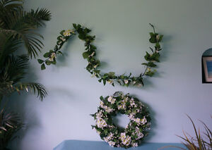 Artificial White flowers Wreath and Garland