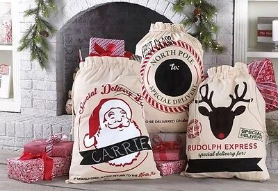 NEW! MUD PIE Sleigh Mates XL Canvas CHRISTMAS Toy Gift Sacks Bags (4) Chalkboard - Mud Pie Halloween Bags