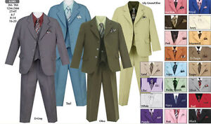 NEW-Boys-White-Communion-Easter-Five-Piece-Suit-23-Other-Colors-Sizes-8-14