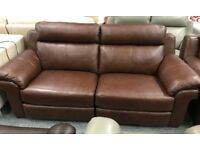 Brown leather 2 seater and 2 x Armchairs