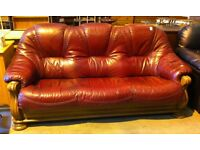 Leather red 3 seater sofa