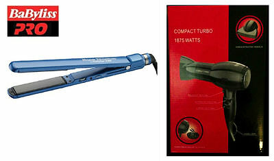 "Babyliss Pro Nano-Titanium Ceramic Ultra-Slim Flat Iron 1""  w/ BONUS Hair Dryer"