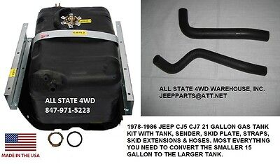 JEEP CJ5 CJ7 21 GALLON PLASTIC GAS TANK KIT, SKID SENDER HOSES EXTENSIONS 78-86
