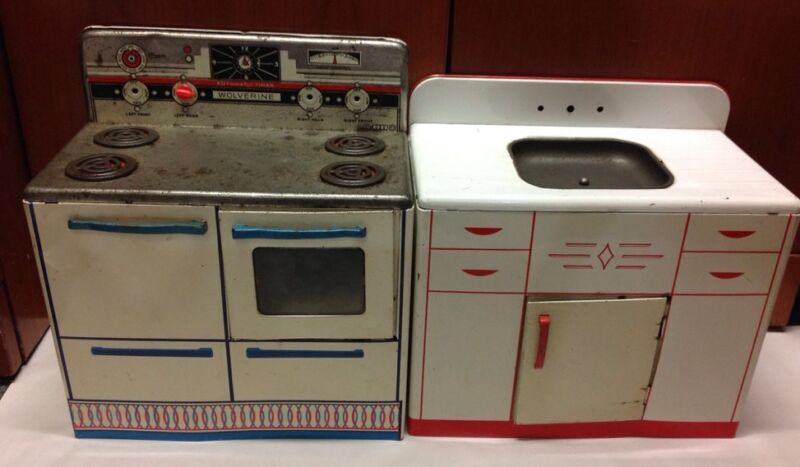 "Vintage Wolverine USA Metal 18"" Doll Kitchen Sink Stove Oven Retro Toy Furniture"