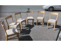 6 Ikea Solid Oak Curve Back & Black Leather Chairs FREE DELIVERY 361