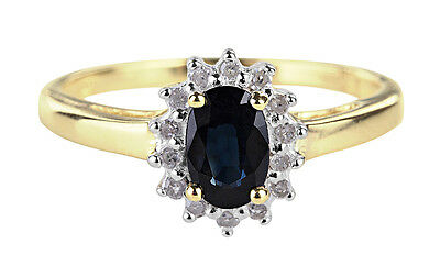 Simply elegant blue sapphire with diamond surround
