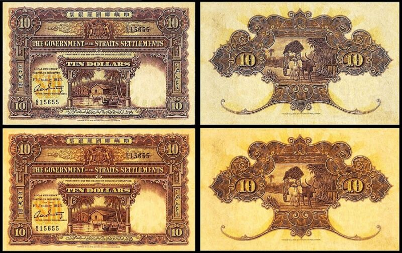 !COPY! 2 STRAITS SETTLEMENTS 10$ DOLLARS 1925 BANKNOTES !NOT REAL!1