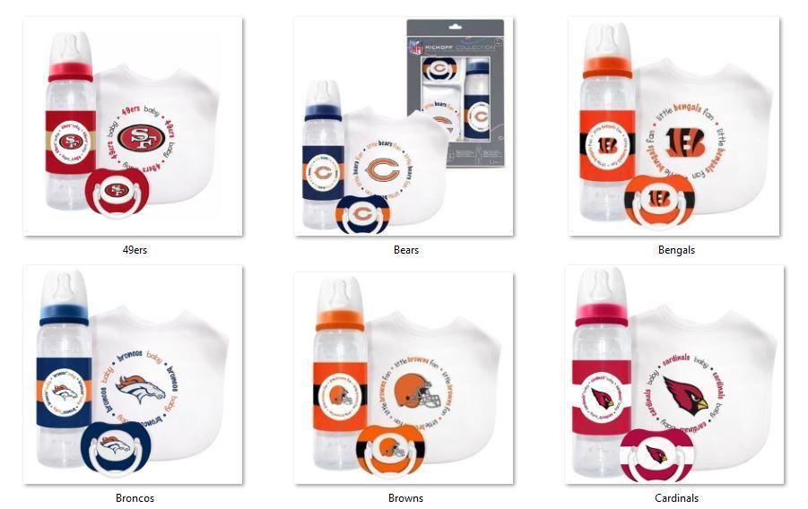 New England Patriots Infant Baby Fanatic Gift Set Bottle Bib Pacifier BPA Free