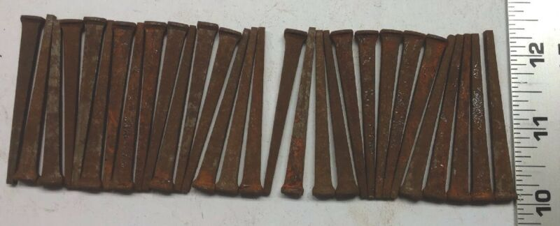 "LOT OF 30 ""BARN FIND"" VINTAGE  NOS UNUSED (rusted) 2 1/4"" INCH SQUARE CUT NAILS"