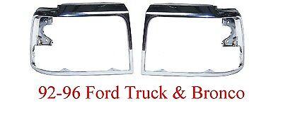 92 96 Ford Truck & Bronco Chrome Head Light Door Set, Both Doors, Both Sides!