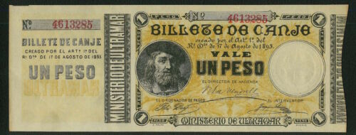 PUERTO RICO   1895  1 PESO BANKNOTE, XF/AU, BEAUTIFUL, & SCARCE!!!