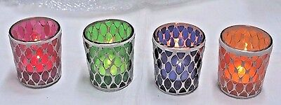 1-Votive/Tealight Jeweled~Colored Holders~4-Colors To Choose From~Beautiful Lit (Votive Holder)