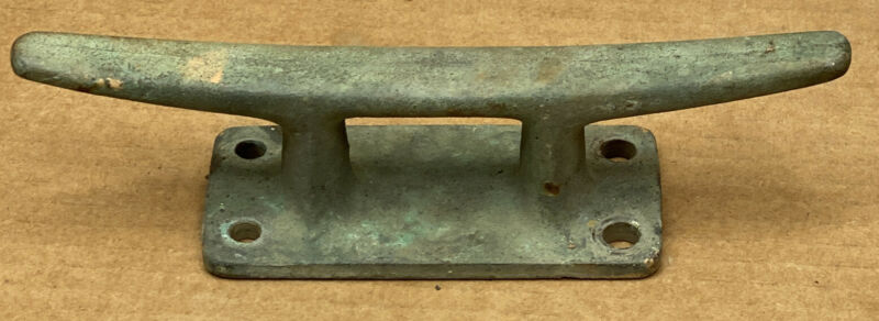 "VINTAGE GREAT PATINA 8"" CAST IRON BOAT DOCK CLEAT / TIE DOWN ~ NAUTICAL MARITIME"
