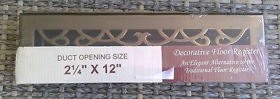 BRASS ELEGANS  ANTIQUE BRASS VICTORIAN FLOOR REGISTER 2 1/4''X 12'' 4x12 Victorian Floor Register