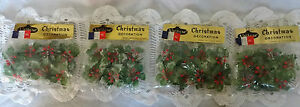 Lot of 4~Vintage~Christmas Decorations~Greenery~1963~Retro~Original Packaging