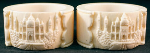 Carved Celluloid Napkin rings with the Taj Mahal Set of 2