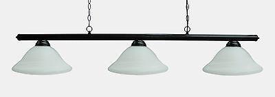 "59"" Black Metal Pool Table Light Billiard lamp W White Glass Shades"