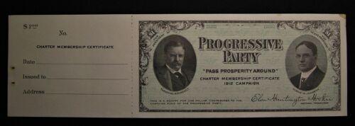 1912 PROGRESSIVE PARTY TEDDY THEODORE ROOSEVELT HIRAM JOHNSON BULL MOOSE TICKET