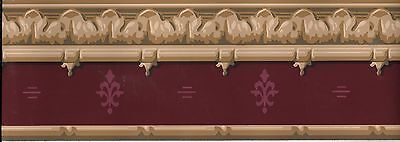 Victorian Architectural Tan Trim with Burgundy Accents WALLPAPER BORDER