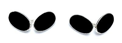 925 Sterling Silver Black Onyx Stone Classic Chain Link Oval Shaped Cufflinks