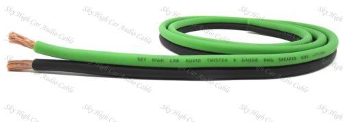 25 ft TRUE 8 Gauge AWG GR/BK Sky High Car Audio Speaker Wire Car Home Audio