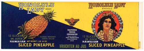 CAN LABEL VINTAGE 1920S HAWAIIAN ISLANDS PINEAPPLE HAWAII ORIGINAL HONOLULU 3