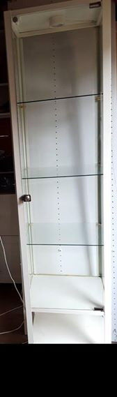 White metal glass display cabinets with light
