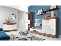 FREE DELIVERY 1-3 DAYS TONI Wall Unit SET White High Gloss and Dark OAK