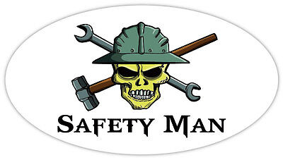 Safety Man skull hard hat tools hammer wrench tool frac it sticker decal 6