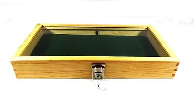 Key Lock Natural Wood Glass Top Green Pad Display Case Militaria Jewelry Knife