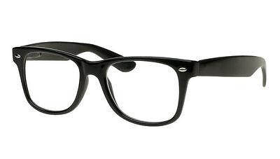 Retro Clark Kent, Buddy, Nerd Clear Lens Wayfarer Eye Glasses Black  NEW