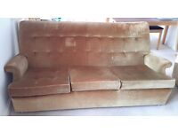 Parker Knoll three seat sofa, golden draylon material, very comfortable