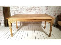 Rustic Extendable Farmhouse Kitchen Dining Table Turned Leg Natural - Seats up to Twelve People