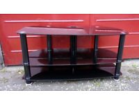 Black Glass TV Unit with 3 Shelves and Cable Tidy Column built in.