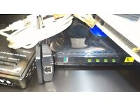 2x NETGEAR: Wireless Access Point and N600 Router, 2 laptop network cards, KVM switch, USB cables