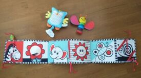 Double sided baby's firstirst book, Firefly rattle and musical owl