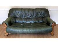 FREE Green Leather 3 Seater Sofa Settee