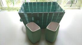 Teal Storage Basket w/Two (2) Matching Caddies - Great for Bathroom, Bedroom, Kids Room etc.