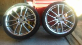 Set of 4 alloy wheels 205/40zr 17 inch plus 2 spare tyres