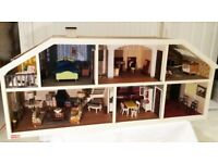 DOLLS HOUSE & FURNITURE - made by Lundby of Sweden , the furniture is 70s/80 style - £20 or offer