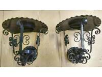 Pair of vintage black wrought iron wall sconces.