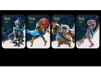 The Legend of Zelda BOTW Champions Amiibo Cards Set of 4 Custom Handmade