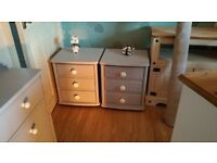 Pair of upcycled solid pine bedside cabinets