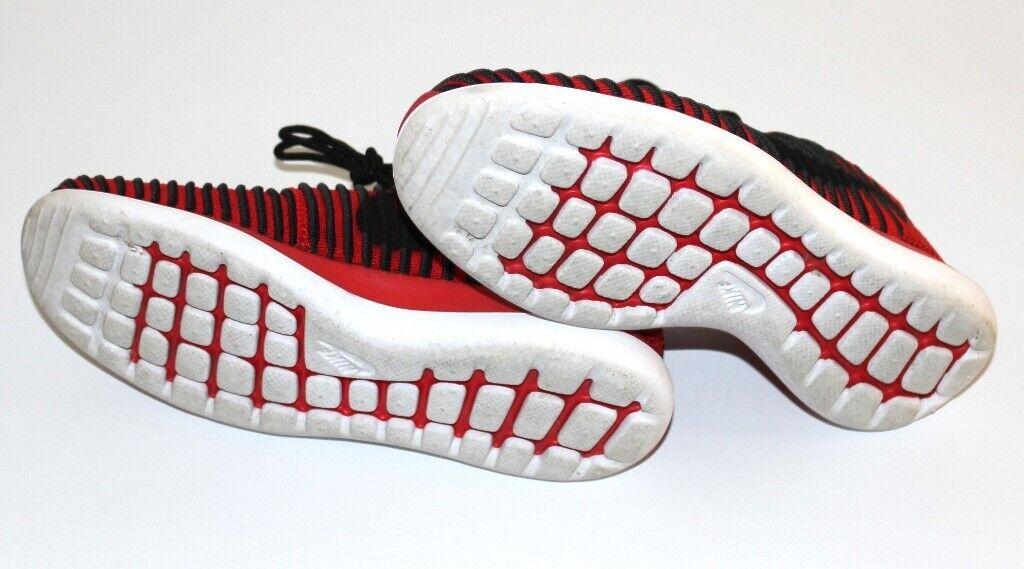 507b2209da70f Nike Roshe Two Flyknit UK Size 5 Red Black Kids Womens Running Shoes 844619- 600
