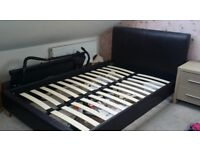 MOVING HOUSE SALE!! Faux Leather Chocolate Brown Small Double Bed Base