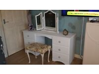 Solid pine dressing table painted in a clean white